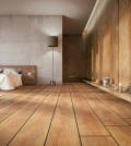 Chambre très spacieuse avec parquet et revêtement des murs en bois